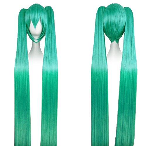 Kostüm Miku Mit Hatsune Perücke - CoolChange Hochwertige Miku Hatsune Perücke mit Super Langen Zöpfen in Grün