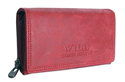 Großes Damen Portemonnaie | Geldbörse mit Münzfach Kreditkartenfächer Ausweisfächer Fotofächer | Brieftasche für Frauen - verschiedene Farben XL (11033) (Rot) (Brieftasche Damen)