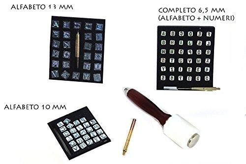 Kit tooling Maillet + Burins Alphabet pour imprimés sur cuir