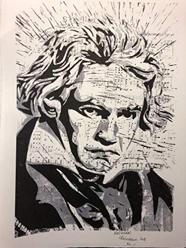 Ludwig van Beethoven auf Noten - FineArt Print, nummeriert und handsigniert