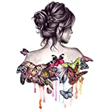 Geboor DIY Oil Painting by Numbers Kits, Geboor Canvas Oil Painting Beautiful Girl with Butterfly for Adults and Drawing Beginner with Brushes Without Frame