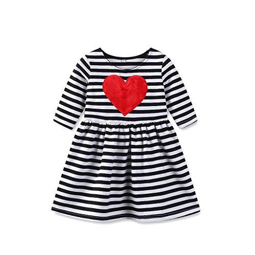 (IZHH Kinder Kleider, Kleinkind Kinder Baby Mädchen Herz Gestreift Herzförmig Mädchen Kleid Prinzessin Kleid Sommerkleid Outfits Kleidung 6M-6T(Schwarz,2T))