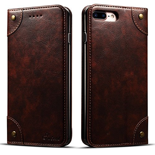 """Apple iPhone 7 Plus/8 Plus 5,5"""" Leder Hülle Flip Case Handytasche und Brieftasche mit Kreditkarten Kartenfach mit Unsichtbarem Magnet Verschluss Standfunktion, Koffee"""