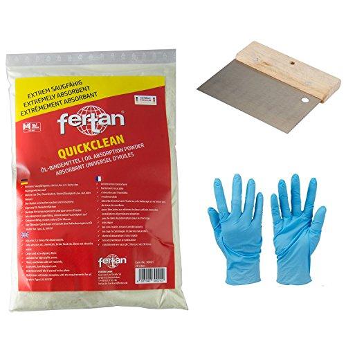 Quickclean Ölbindemittel inkl. Nirtilhandschuhe und Spachtel zum besseren verteilen auf festen Böden (3 Liter)