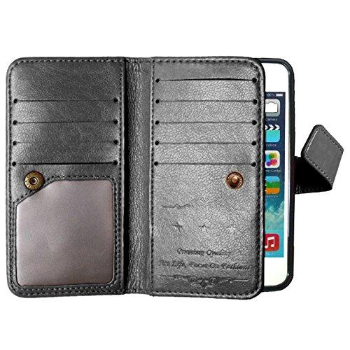 iPhone Case Cover Couleur solide haute qualité en cuir PU Housse Housse Etui pour iPhone 5 5S SE ( Color : White , Size : IPhone SE 5S ) Black