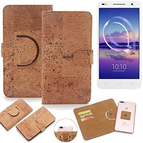 K-S-Trade Schutz Hülle für Alcatel U5 HD Dual SIM Handyhülle Kork Handy Tasche Korkhülle Schutzhülle Handytasche Wallet Case Walletcase Flip Cover Smartphone Handyhülle