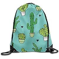 Diseño a la Moda Saco Bolsa cordón mochila negro corazón verde planta Cactus Azul Nueva Cadena mochila
