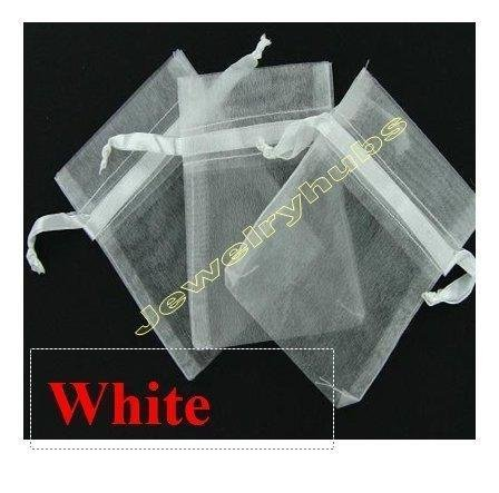 50 White jewelry wedding organza gift bags 7 x9 cm distribute and sold by JOYDIY