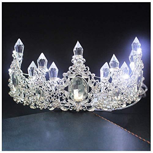 essin Crown Tiara Glowing Rhinestone LED Licht Headwear Haar-Zusatz für Hochzeit ()