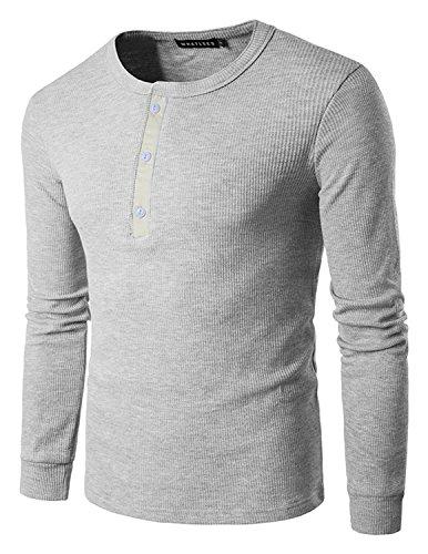 YCHENG Herren T-Shirt Longsleeve Grandad Kragen mit Kontrast Knopfleisten  Grau 1