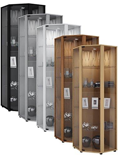 VCM Eckvitrine Glasvitrine Standvitrine Schrank Sammelvitrine Vitrine Glas  Regal Kern Nussbaum 175x