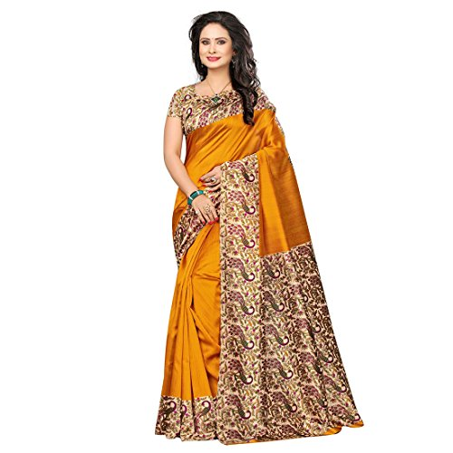 Craftsvilla Women\'s Art Silk Solid Traditional Yellow Saree with Blouse Piece