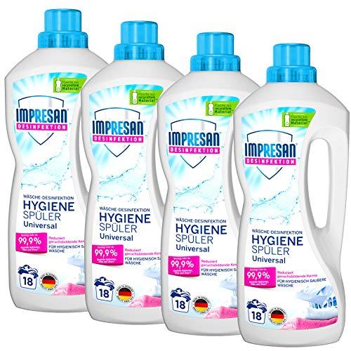 Impresan Hygiene-Spüler Universal: Wäsche-Desinfektion - Desinfektionsspüler gegen Bakterien, Pilze, Viren - 4 x 1,5L