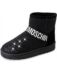 NVH Botas de Nieve de Invierno Lentejuelas Más Botas de Terciopelo Princesa Cabeza Redonda Cálida Además de Zapatos de Algodón de Cachemira Modelos de Pareja,Negro,37