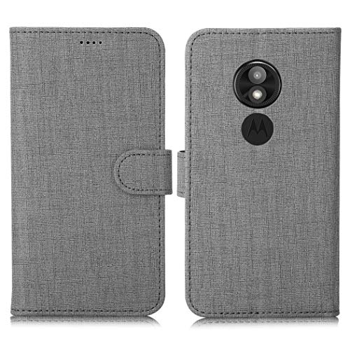 Eastcoo Motorola Moto E5 Play Hülle Schutzhülle Tasche Handyhülle Cover PU Leder Folio Flip Dünn Premium klappbares Book Case [Mit Standfunktion][ Magnetverschluss] [Kartenfach] [Wallet](Gray)