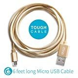 6ft long Nylon Braided Original MIVI Tough Micro USB Cable with charging speed up to 2.4Amps for Samsung, Lenovo, Lumia, OnePlus, Xiomi MI, HTC, LG, Nexus, Motorola Moto G, ASUS, Coolpad, Sony, Micromax, Honor, Intex, Meizu, Karbonn and all other mobile devices and Tablets (Gold)