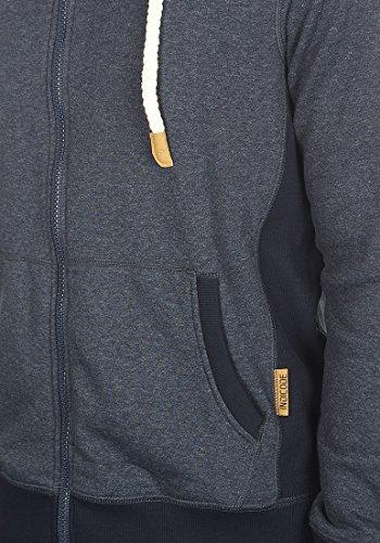 INDICODE BillyZip Herren Sweatjacke Kapuzen-Jacke Zip-Hoodie aus hochwertiger Baumwollmischung Meliert Navy