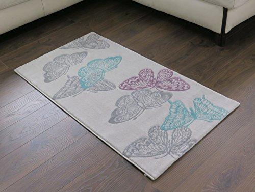 diseño de mariposa, alfombra en gris claro con colores acuáticos, Aqua/Grey, 80 x 150 cm