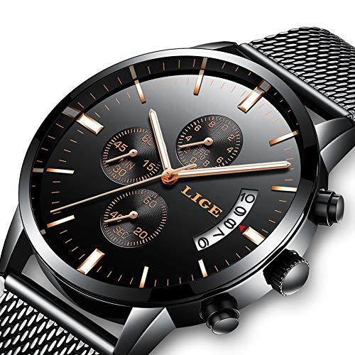 Herren Uhr LIGE Wasserdicht Edelstahl Analog-Quarz Mesh Uhr-männer Casual Date Armbanduhr