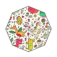 Folding Rain Umbrella with Flower and Dinosaur