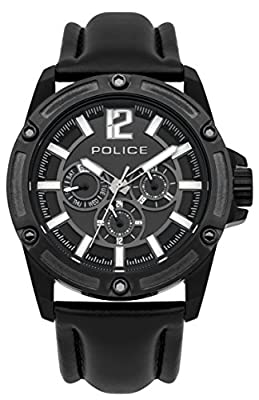 Police PL.93778AEU/02 - Reloj de cuarzo para hombres con esfera negra y correa negra de cuero de Police