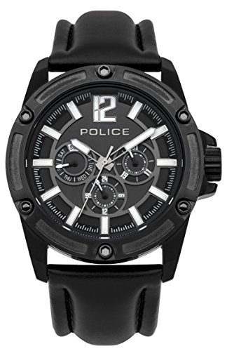Police Men's PL.93778AEU/02 Quartz Watch with Black Dial Analogue Display and Leather Strap