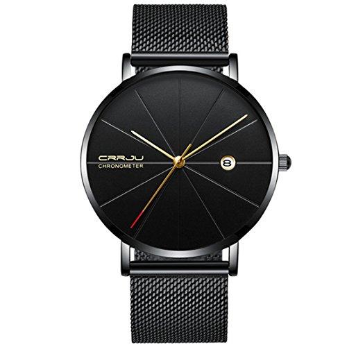 Souarts Uhren Herren Luxus Wasserdicht Sport Analog Quarzuhr Männer Edelstahl Mesh Casual Datum Kalender Armbanduhr Mann Schwarz