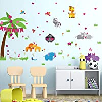 ZXFMT Cartoon Animal Party Wall Stickers For Kids Rooms Baby Room Children Room Bedroom Art Wall Decals Self Adhesive Film