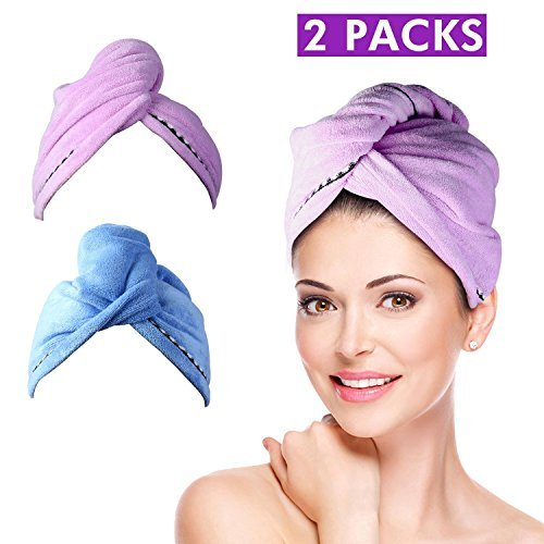 Wrap Turban Haartrockentuch, Handtuch Kopftuch Haartrockentuch Handtücher Haarpunzel Haar trocknendes Tuch Schnelltrocknend saugfähig Baumwolle 2 pcs - (Lila & Blau) Knopf-visier