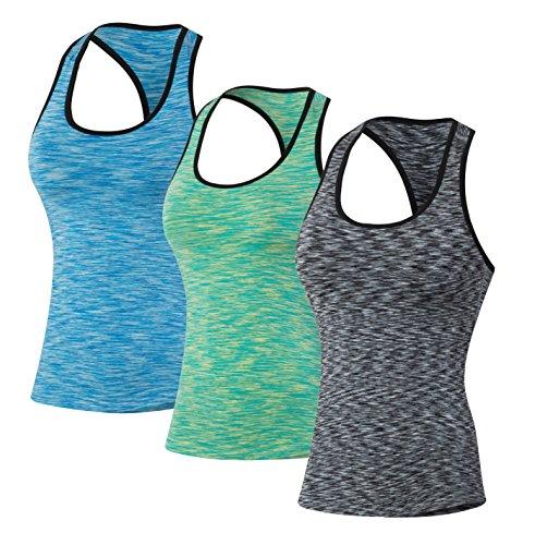Sport Yoga Tanktops Damen Workout 3 Packs Dry Fit Kompression Running Fitness T-Shirt Blua Grün Grau Tag(XXL)=EUR XL
