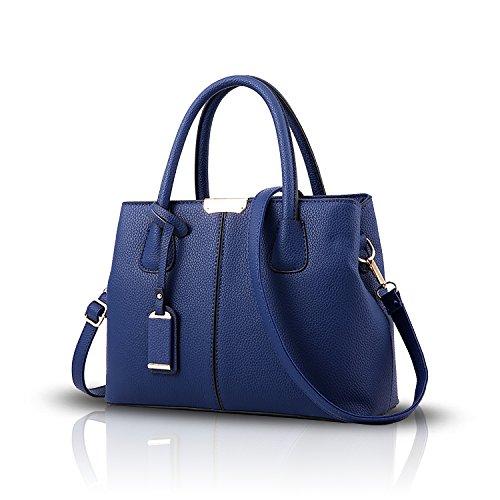 weise Farbenschulter Handtaschenart Tisdaini einfache Mappe und marineblau Frauen lederne PU Kurierbeutel einfache ttUq4