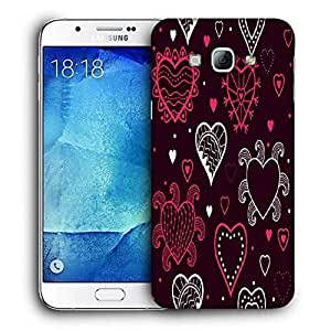 Snoogg Abstract Hearts Maroon Pattern Printed Protective Phone Back Case Cover For Samsung Galaxy A8