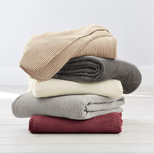 Ibena Nantes Decke grau, Kuscheldecke 140x200, Tagesdecke mit hohem Anteil an Baumwolle, leichte Sommerdecke - Tagesdecke Mit