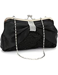Anladia Sac a Main Pochette de Soiree en Satin Dentelle Strass Fermoir Metallique Noir