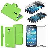 ebestStar - Cover Compatibile con Samsung S4 Mini Galaxy GT-i9190, i9192, i9195 Custodia Portafoglio Pelle PU Protezione Libro Flip, Verde + Vetro Temperato [Apparecchio: 124.6x61.3x8.9mm 4.3']