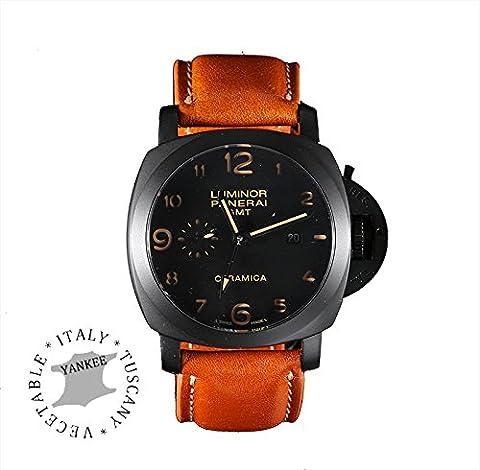 BORAZI® Series Premium-italienischen Yankee-Leder-Uhrenarmband für Panerai Uhr - 24mm Uhr Stollenbreite - Space Schwarz Buckle (Honey Brown 24mm)