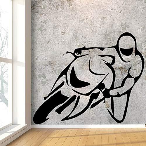 Kreative motorrad wettbewerb design wandaufkleber junge schlafzimmer hintergrund vinyl abnehmbare wandtattoo wasserdicht kunst tapete L 43 cm X 31 cm schwarz -