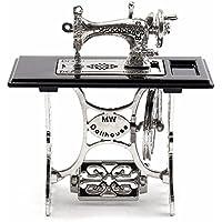 Mini máquina de coser de la vendimia, accesorios miniatura de la casa de muñecas de