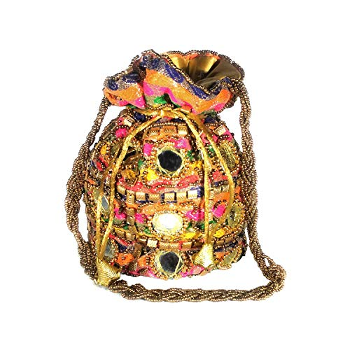 Hand Crafted Mirror Work Rajasthani Style Ethnic Potli Bag Cluth/Bridal Purse/Potli Wallet for Women Multicolor Single Potli Bag