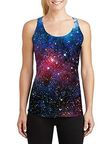 Leapparel Frauen-Galaxie-Nebelfleck-Raum druckte sleeveless T-Shirt Tank Topss Weste