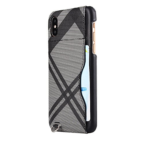 iPhone X Hülle, Valenth [Anti-Drop] Slim Full Schutzhülle Hülle mit Card Slot für iPhone X Grau