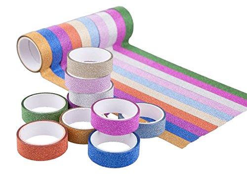 DIKETE 20 Rollen Glitzer Klebeband Dekorative Regenbogen Papier Masking Tape Klebeband DIY Aufkleber Maskierung Decor Sticky Kleber Scrapbooking Dekobänder Farbig