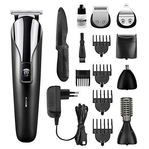 Cocoda Haarschneider Set, 6 in 1 Elektrischer Multigrooming-Set: Bart Trimmer Haarschneidemaschine Body Rasierer Nasenhaar, Augenbrauen und Ohrhaarschneider mit Aufsatz für Männer und Frauen