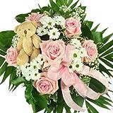 'Mädchen' Blumenstrauß in rosa, zur Geburt, zum Geburtstag - Blumenstrauß mit rosa Rosen inkl. Teddy!