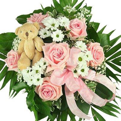 """""""Mädchen"""" Blumenstrauß in rosa, zur Geburt, zum Geburtstag – Blumenstrauß mit rosa Rosen inkl. Teddy!"""