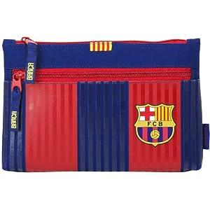 Futbol Club Barcelona- FC Barcelona Estuche portatodo Grande 2 Cremalleras, Color Azul/Granate, 23 cm (SAFTA 811629033)