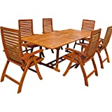 Wooden Garden Dining Table Chairs Set Made of Wood - Outdoor Patio Folding Rectangular Wooden Furniture