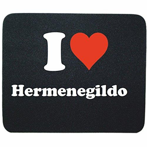 EXCLUSIVO: Tapete de ratón 'I Love Hermenegildo' en Negro, una gran idea para un regalo para sus socios, colegas y muchos más!- regalo de Pascua, Pascua, ratón, Palmrest, antideslizante, juegos de jugador, cojín, Windows, Mac OS, Linux, ordenador, portátil, PC, oficina, tableta, Amo Made in GERMANY.