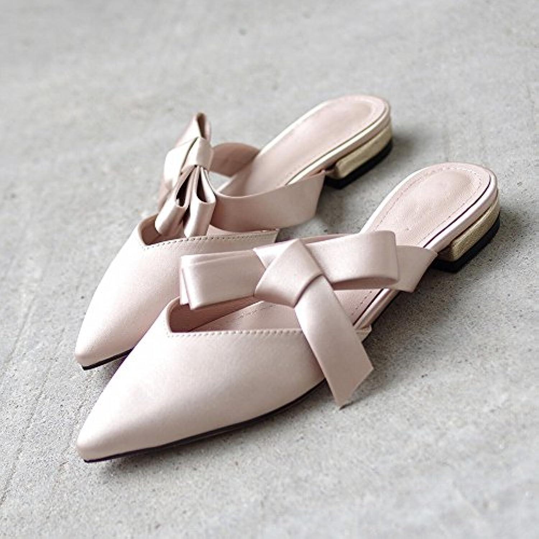 DHG Pantofola Estate Indossare Arco a Punta Romana Baotou Muler Scarpe Scarpe Fata Piatte,Nudo,38 | Colore molto buono  | Gentiluomo/Signora Scarpa