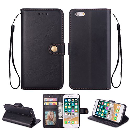 Ostop iPhone 6S/iPhone 6 Hülle,Leder Brieftasche Handyhülle,Schwarz Klassisch Öl Wachs PU Standfunktion Abdeckung Kartenfach Stilvoll Flip Klapphülle mit Retro Metall Verschluss Schutzhülle
